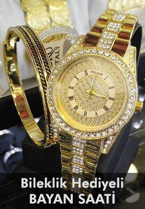 Altın Kaplama Bayan Saati - Bileklik Hediyeli