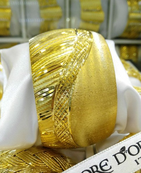 22 Ayar Altın Kaplama Mega Bilezik 4cm, İmitasyon Bilezikler-15