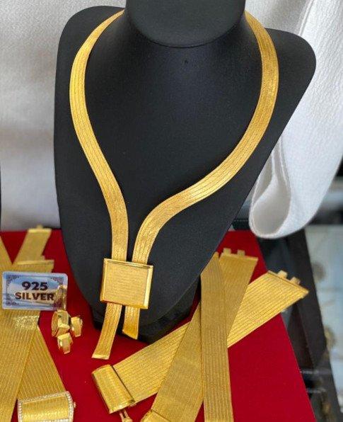 Trabzon Hasır Kolye Seti, 925 Ayar Gümüş Takı Seti-10