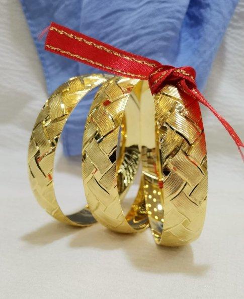 Hasır Örgü Modelli Bilezik, 22 Ayar Altın Kaplama Bilezik-53