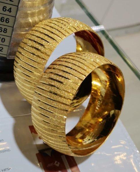 22 Ayar Altın Kaplama Bilezik 3cm, İmitasyon Bilezik-7