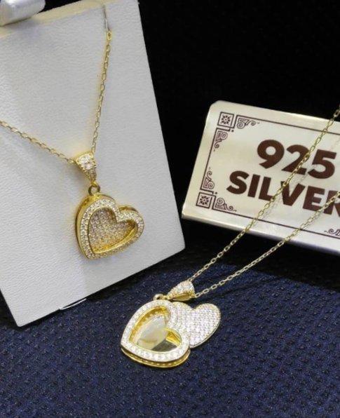 Kalpli Gümüş Kolye, 925 Ayar Gümüş Bayan Kolyesi-35